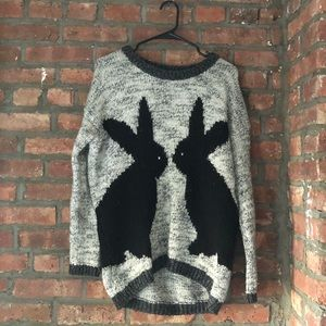 Oversized chunky knit bunny sweater